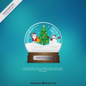 Snowglobe achtergrond met kerst tekens