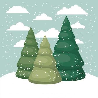 Snowscape met dennenbos scène