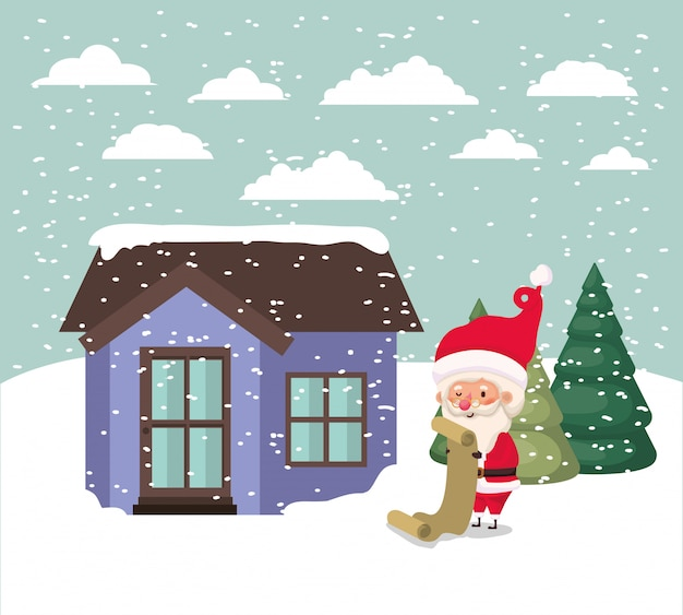 Snowscape met schattig huis en de scène van de kerstman