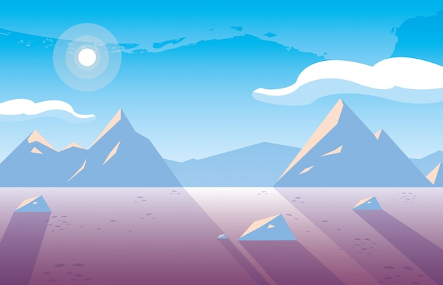 Snowscape natuur scène pictogram pictogram ilustrate