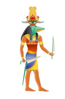 Sobek egyptische god, nijlkrokodil godheid. oude egyptische god