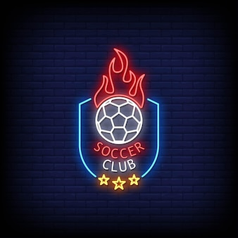 Soccer club logo neon signs style text