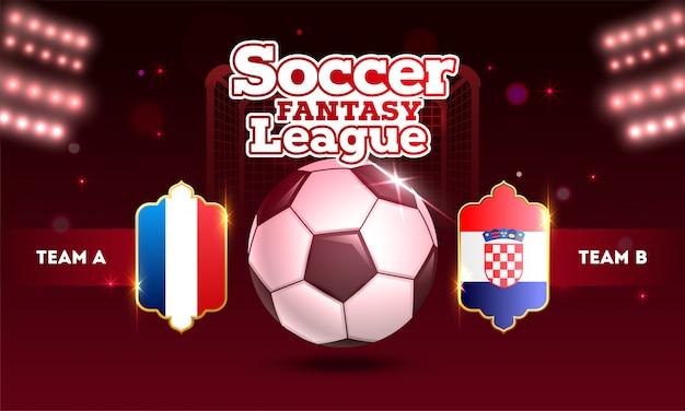 Soccer fantasy league-ontwerp met voetbalbal en teams