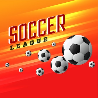 Soccer league sport achtergrond met vliegende voetbal