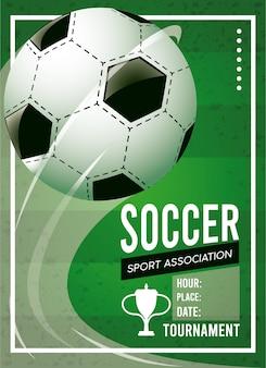 Soccer league sport poster met ballon op groene achtergrond