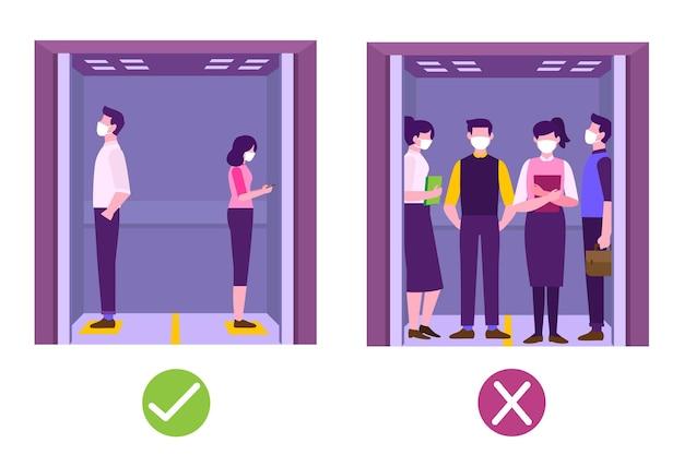 Sociaal afstand nemen in een geïllustreerde lift
