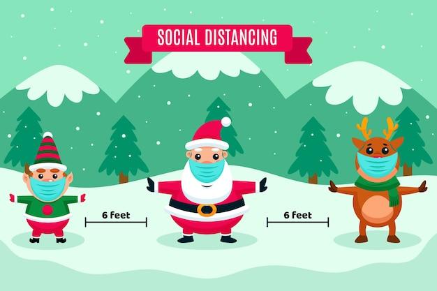 Sociaal afstand nemen met kerstkarakters