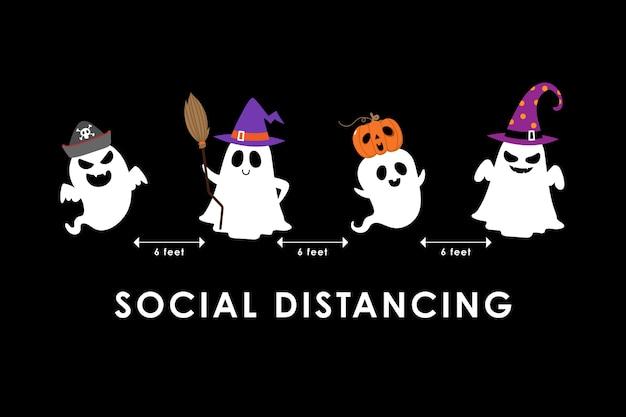 Sociaal afstand nemen met schattige enge geest in hoedenfeest en griezelige pompoen.