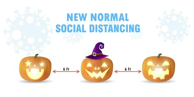 Sociaal afstand nemen van halloween-concept