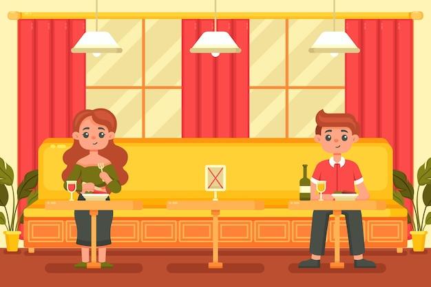 Sociaal afstandelijk restaurant