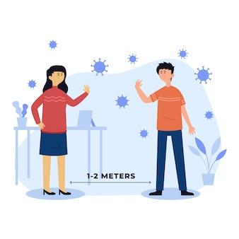 Sociaal afstands illustratieontwerp