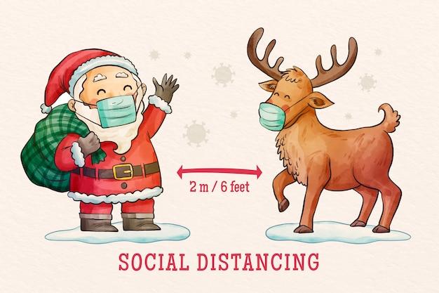 Sociaal afstandsconcept geïllustreerd