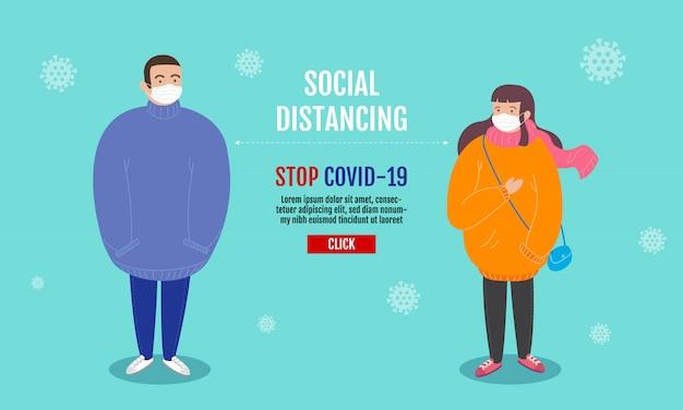 Sociaal afstandsconcept, mensen die afstand houden voor infectierisico en ziekte, een chirurgisch beschermend medisch masker dragen om het virus covid-19 (coronavirus) te voorkomen. stripfiguur.