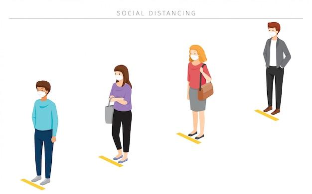 Sociaal afstandsconcept, mensen die chirurgische maskers dragen die op afstand in de rij staan, bescherming tegen coronavirusziekte, covid-19