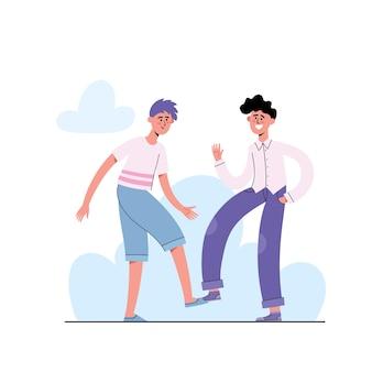 Sociaal afstandsconcept, mensen vermijden handdruk of handaanraking om te beschermen tegen coronavirus, twee mannen mensen begroeten elkaar met voeten in moderne stijl