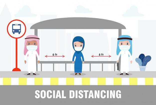 Sociaal afstandsconcept met arabische en moslimmensen die medische maskers dragen bij de bushalte tijdens covid-19. coronavirus-uitbraak nieuwe normale levensstijl. vermijd het verspreiden van ziekte van covid-19. vector