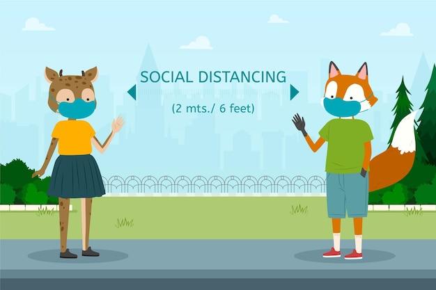 Sociaal afstandsconcept met dieren