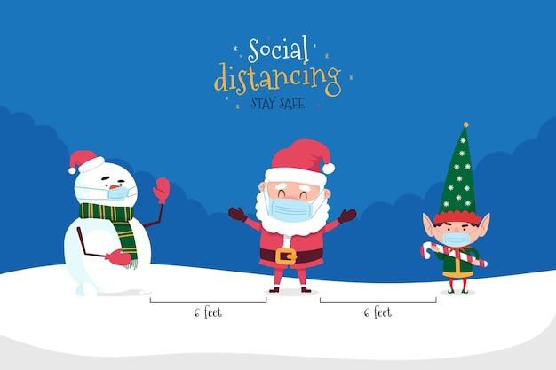 Sociaal afstandsconcept met kerstkarakters