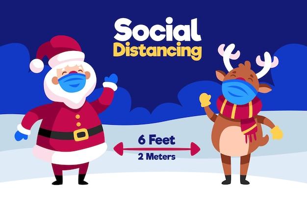 Sociaal afstandsconcept met kerstman en rendieren