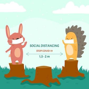Sociaal afstandsconcept met schattige dieren