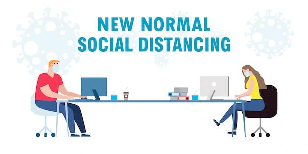 Sociaal afstandsconcept van teamwerk van mensen uit het bedrijfsbureau handhaven een nieuwe normale levensstijl bij het werken op de baan. stop covid-19 coronavirus geïsoleerde illustratie