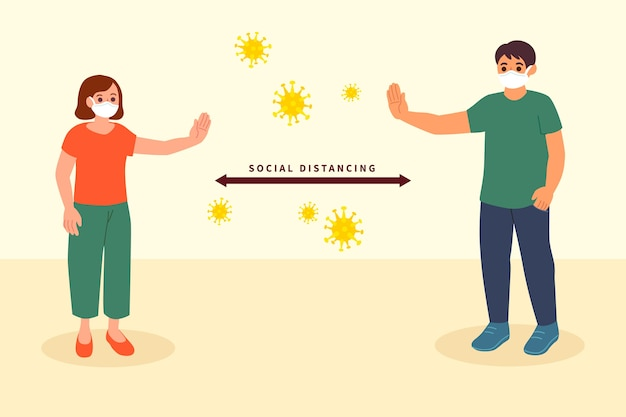 Sociaal afstandsconcept