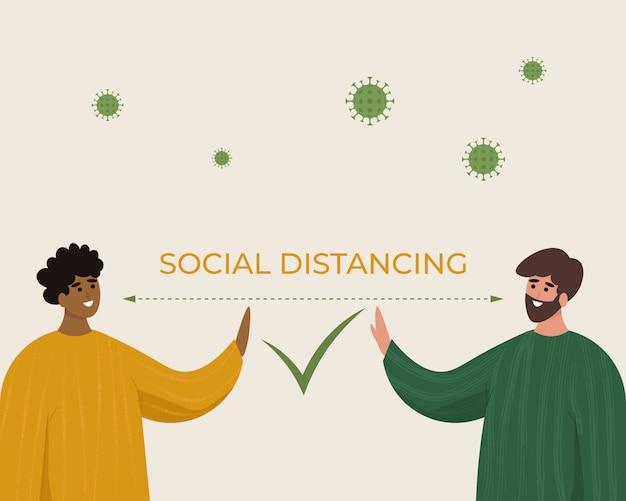 Sociaal afstandsconcept.