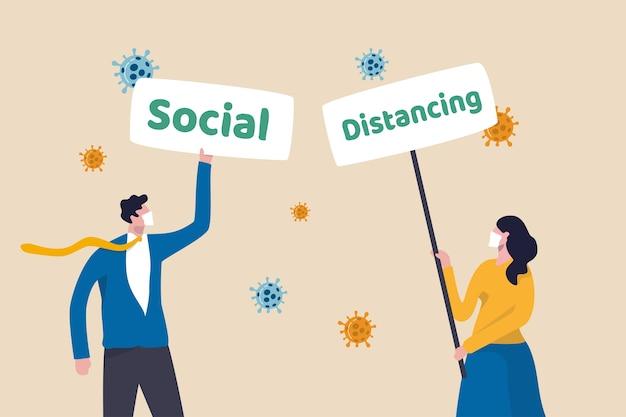 Sociaal afstandsteken bij coronavirus covid-19-uitbraak om afstand te houden om het ziekteconcept te voorkomen, mensen die een gezichtsmasker dragen en een bordje vasthouden met het woord sociaal en afstand nemen met een viruspathogeen.