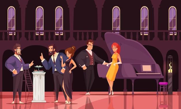 Sociaal evenement met een groep rijke mensen op een prestigieus feest op een modieuze plek platte illustratie