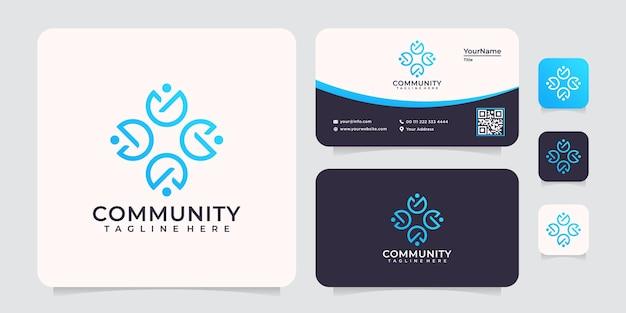Sociaal gemeenschapsmonogram uniek logo-eenheidspartnerschap
