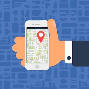 Sociaal leven met smartphone. elektronische kaart op smartphone in de hand in platte minimalistische stijl. vector