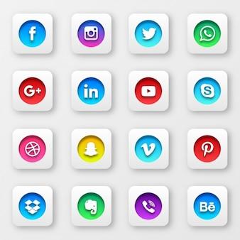 Sociaal netwerk collectie knoppen
