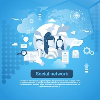 Sociaal netwerk communicatie webbanner met kopie ruimte op blauwe achtergrond
