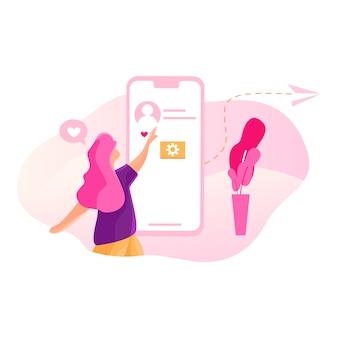Sociaal netwerk - dating illustratie concept