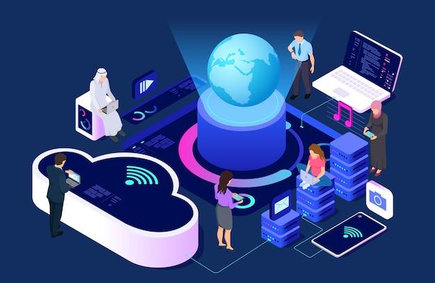 Sociaal netwerk en cloud service concept. isometrische verbindende mensen met wi-fi en apparatenillustratie