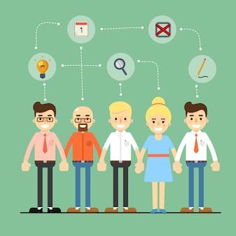 Sociaal netwerk en teamwerk illustratie