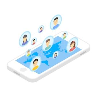 Sociaal netwerk en technologie illustratie