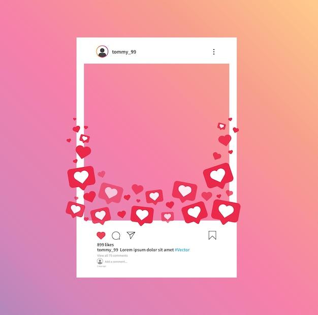 Sociaal netwerk fotolijst sjabloon van instagram