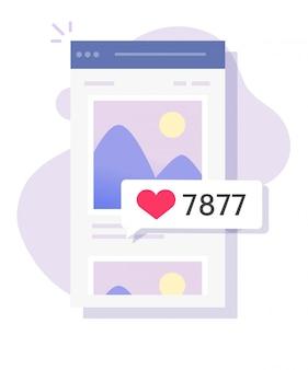 Sociaal netwerk houdt van mobiele reacties op online app voor fotoafbeeldingen