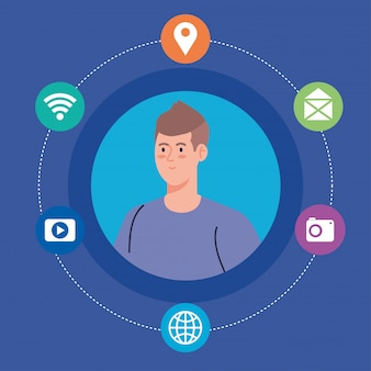 Sociaal netwerk, jonge man en social media iconen, wereldwijd communicatieconcept