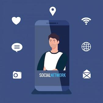 Sociaal netwerk, jonge man in smartphone met social media iconen