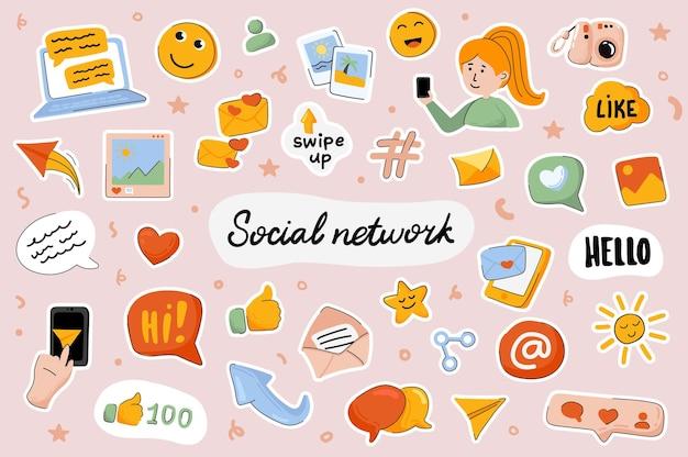 Sociaal netwerk leuke stickers sjabloon scrapbooking elementen instellen