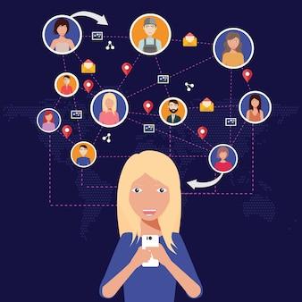 Sociaal netwerk, mensen die over de hele wereld met elkaar verbinden
