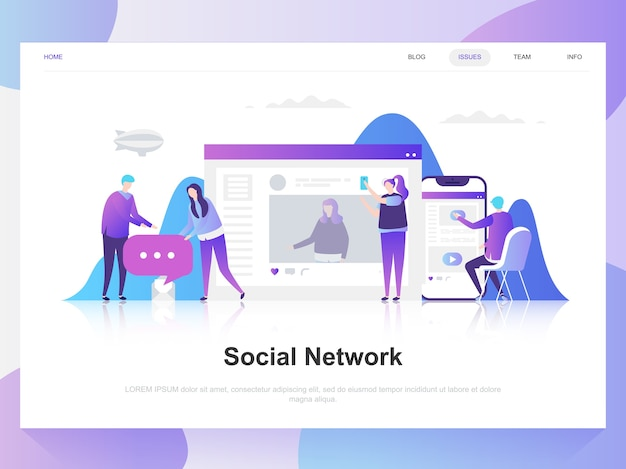 Sociaal netwerk moderne platte ontwerpconcept.