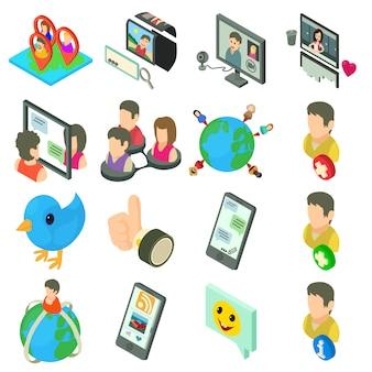 Sociaal netwerk pictogrammen instellen. isometrische illustratie van 16 sociale netwerk vector iconen voor web
