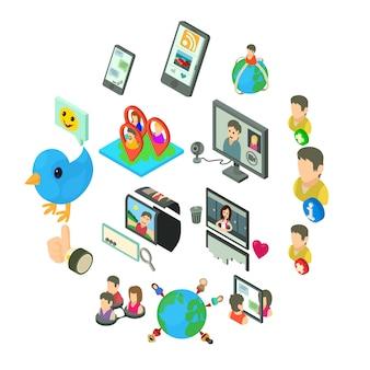 Sociaal netwerk pictogrammen instellen, isometrische stijl