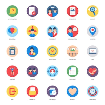 Sociaal netwerk plat pictogrammen pack