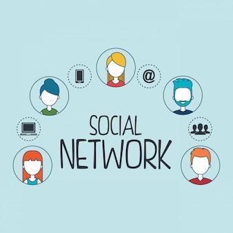 Sociaal netwerk set pictogrammen