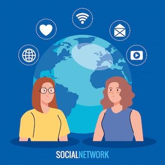 Sociaal netwerk, vrouwen met wereldplaneet en social media iconen, wereldwijd communicatieconcept