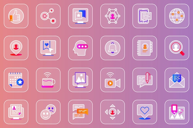 Sociaal netwerk web glassmorphic iconen set